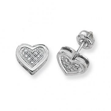 9ct White Gold 0.12ct Diamond Heart Stud Earrings