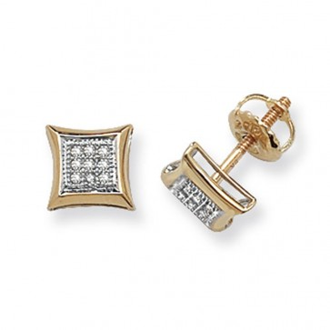 9ct Yellow Gold 0.06ct Diamond Cushion Stud Earrings