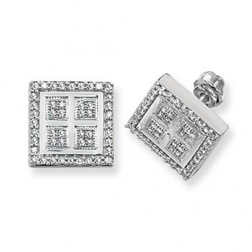 9ct White Gold 0.45ct Diamond Square Stud Earrings