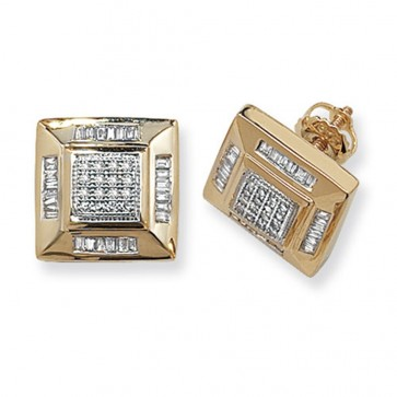 9ct Yellow Gold 0.53ct Diamond Square Stud Earrings