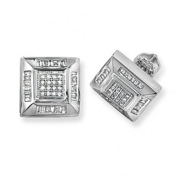9ct White Gold 0.53ct Diamond Square Stud Earrings