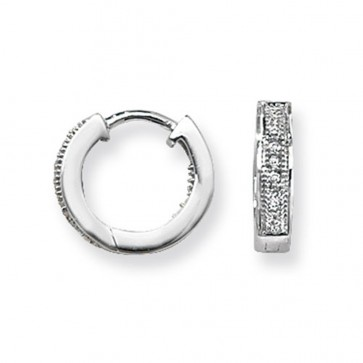 9ct White Gold 0.09ct Diamond Huggie Earrings