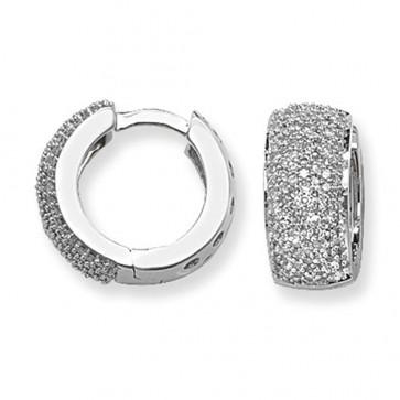 9ct White Gold 0.75ct Diamond Huggie Earrings