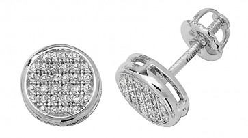 9ct White Gold 0.12ct Diamond Round Stud Earrings