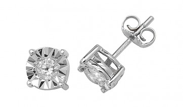 9ct White Gold 0.31ct Diamond Illusion Set Stud Earrings