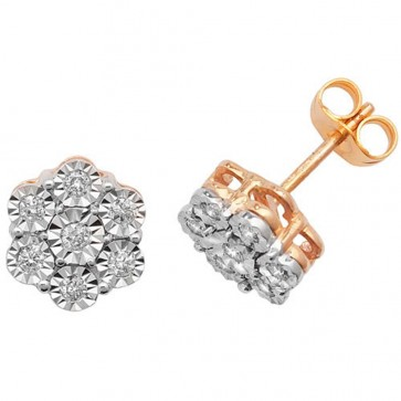 9ct Yellow Gold 0.25ct Diamond Illusion Set Flower Stud Earrings