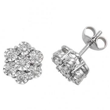 9ct White Gold 0.25ct Diamond Illusion Set Flower Stud Earrings