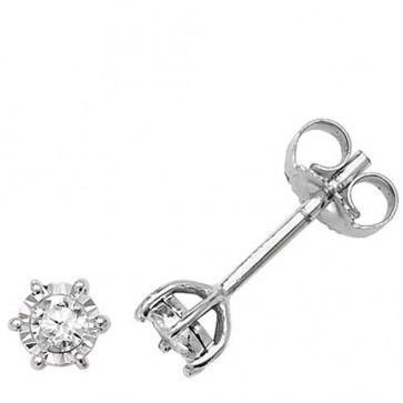 9ct White Gold 0.15ct Diamond Illusion Set Stud Earrings
