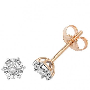 9ct Yellow Gold 0.20ct Diamond Illusion Set Stud Earrings