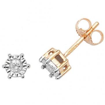 9ct Yellow Gold 0.15ct Diamond Illusion Set Stud Earrings