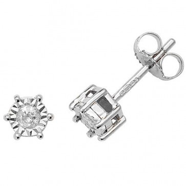 9ct White Gold 0.15ct Diamond Illusion Set Stud Earrings
