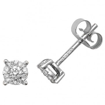 9ct White Gold 0.16ct Diamond Stud Earrings