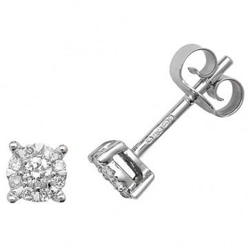 9ct White Gold 0.16ct Diamond Stud Earrings