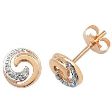 9ct Yellow Gold 0.02ct Diamond Swirl Stud Earrings