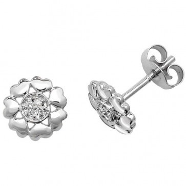 9ct White Gold 0.03ct Diamond Flower Stud Earrings