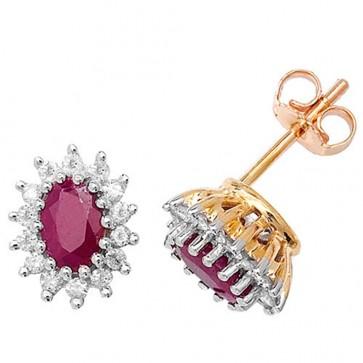9ct Yellow Gold Diamond & Oval Ruby Stud Earrings