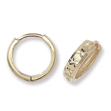 9ct Yellow Gold 14MM Diamond Cut Hinged Hoop Earrings