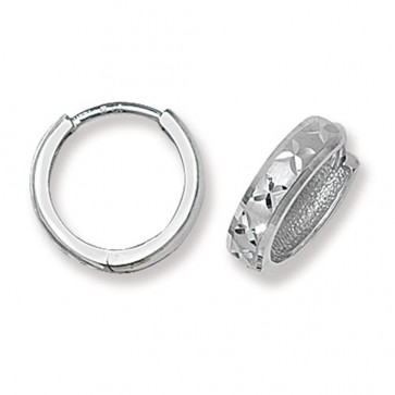 9ct White Gold 14MM Diamond Cut Hinged Hoop Earrings