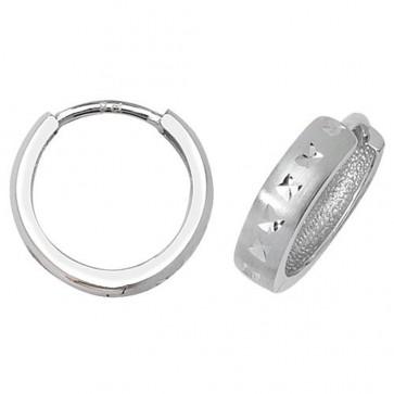 9ct White Gold 14MM Diamond Cut Hinged Hoop Earrings