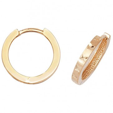 9ct Yellow Gold 16MM Diamond Cut Hinged Hoop Earrings