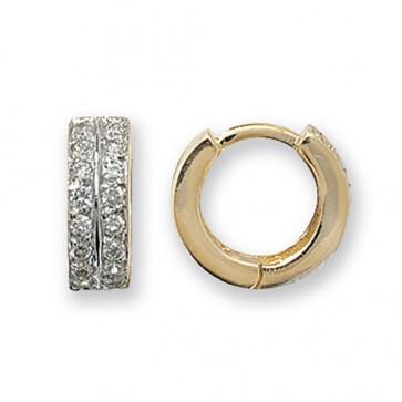 9ct Yellow Gold 14MM Cubic Zirconia Set Hinged Hoop Earrings