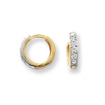 9ct Yellow Gold 10MM Cubic Zirconia Set Hinged Hoop Earrings