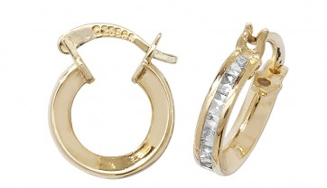 9ct Yellow Gold Cubic Zirconia Small Hoop Earrings