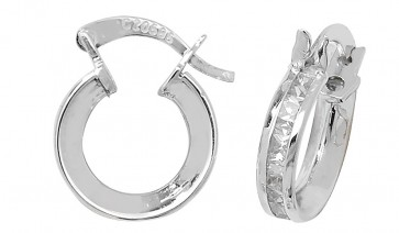9ct White Gold Cubic Zirconia Small Hoop Earrings