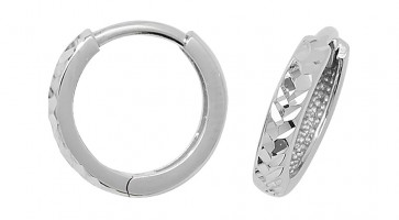 9ct White Gold 12MM Hinged Hoop Earrings