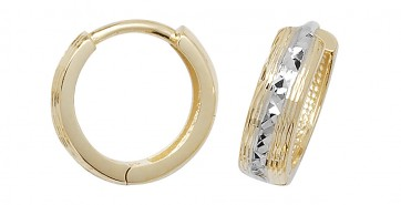 9ct Yellow and White Gold 12MM Hinged Hoop Earrings