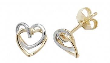9ct Yellow and White Gold Linking Hearts Stud Earrings