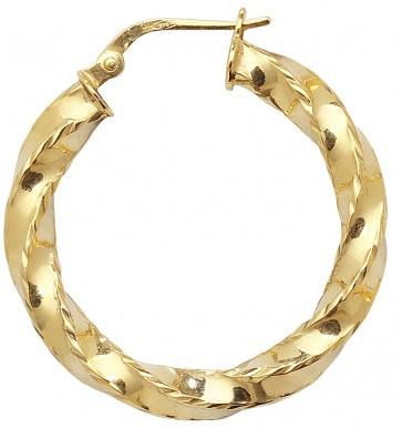 9ct Yellow Gold Small Diamond Cut Twist Hoop Earrings