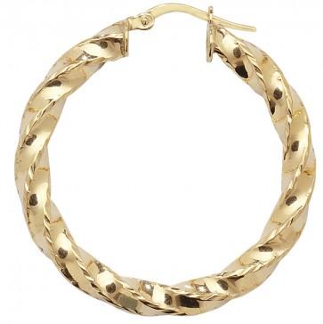 9ct Yellow Gold Medium Diamond Cut Twist Hoop Earrings