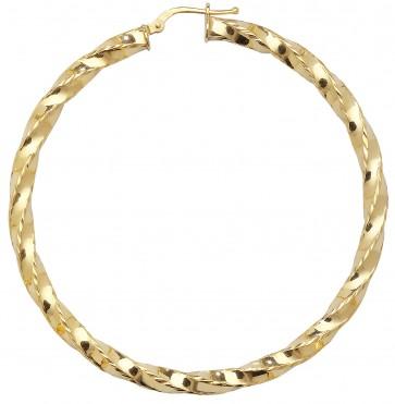 9ct Yellow Gold Extra Extra Large Diamond Cut Twist Hoop Earring