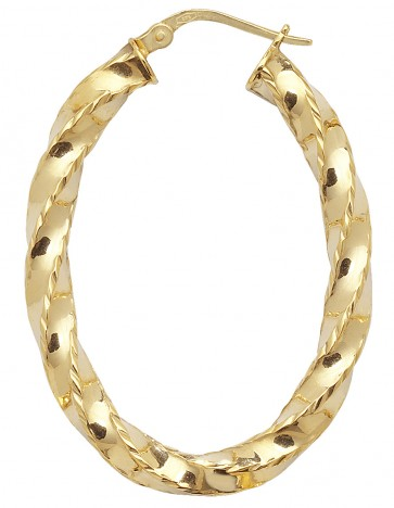 9ct Yellow Gold Diamond Cut Twist Hoop Earrings