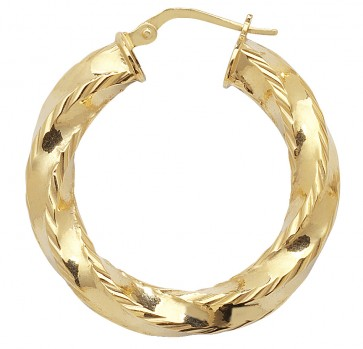 9ct Yellow Gold Small Diamond Cut Twist Hoop Earrings