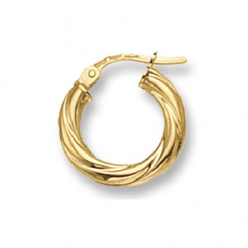 9ct Yellow Gold Small Twist Hoop Earrings