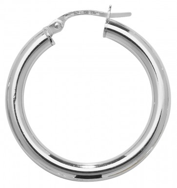 9ct White Gold Extra Large Plain Hoop Earrings