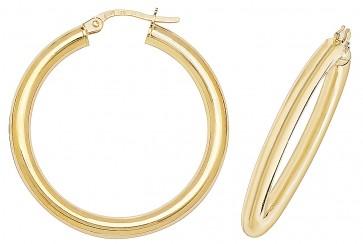 9ct Yellow Gold 30MM Plain Hoop Earrings