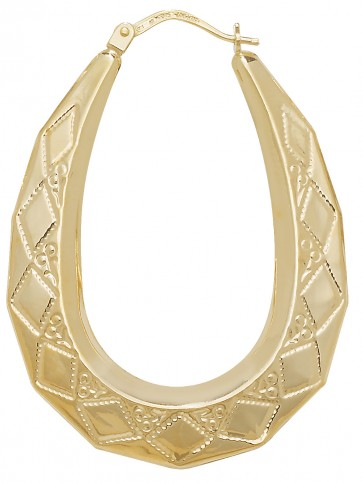 9ct Yellow Gold Medium Oval Creole Earrings