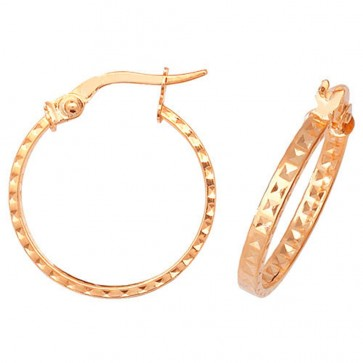 9ct Yellow Gold Medium 18mm Diamond Cut Patterned Earrings