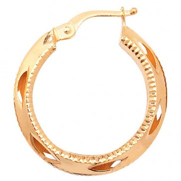 9ct Yellow Gold Small Round Diamond Cut Earrings