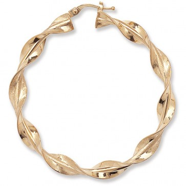 9ct Yellow Gold Extra Large Twisted Hoop Earrings
