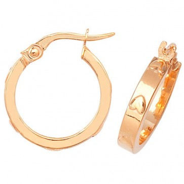 9ct Yellow Gold Medium Heart Hoop Earrings