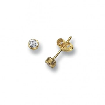 9ct Yellow Gold 3MM Round Cubic Zirconia Stud Earrings