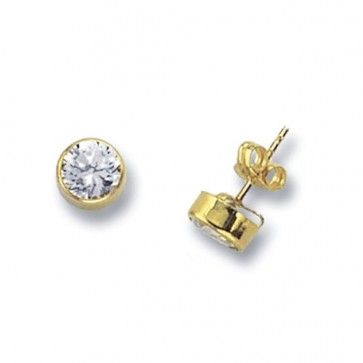 9ct Yellow Gold 7MM Round Cubic Zirconia Stud Earrings
