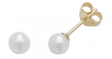 9ct Yellow Gold 4MM White Simulated Pearl Stud Earrings