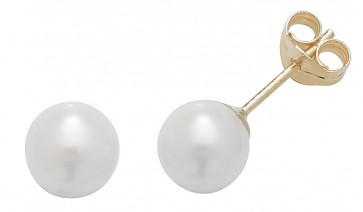 9ct Yellow Gold 6MM White Simulated Pearl Stud Earrings