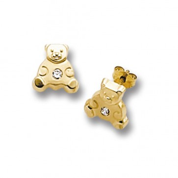 9ct Yellow Gold Teddy Bear With Cubic Zirconia Stud Earrings