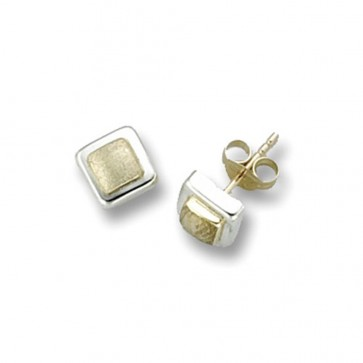 9ct Yellow & White Gold  Square Stud Earrings